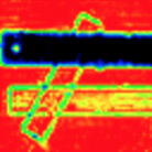 Terahertz image of metallic, plastic and wooden rulers