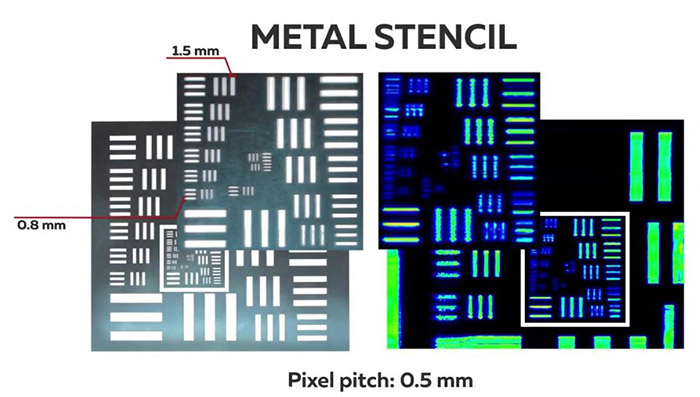 THz image of metal stencil