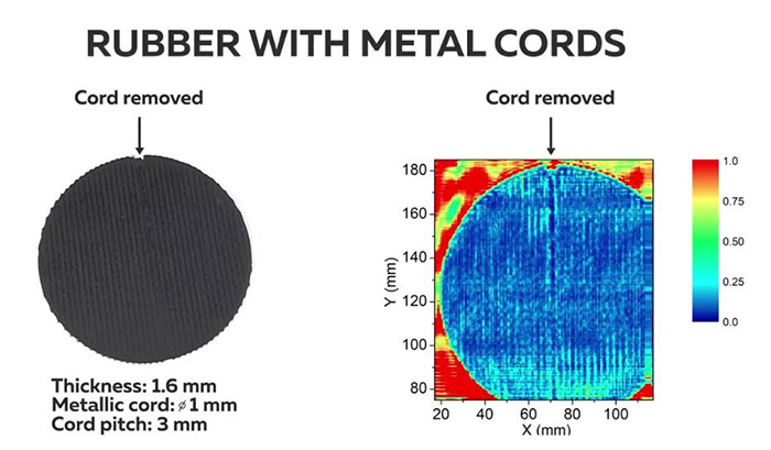 THz image of rubber with metal cord