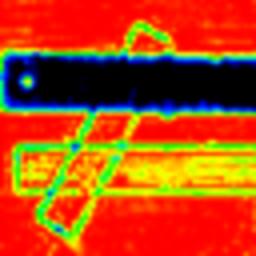 terahertz image of metallic, plastic and wooden rulers