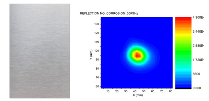 THz reflection image of a metal part without corrosion (at 300GHz)